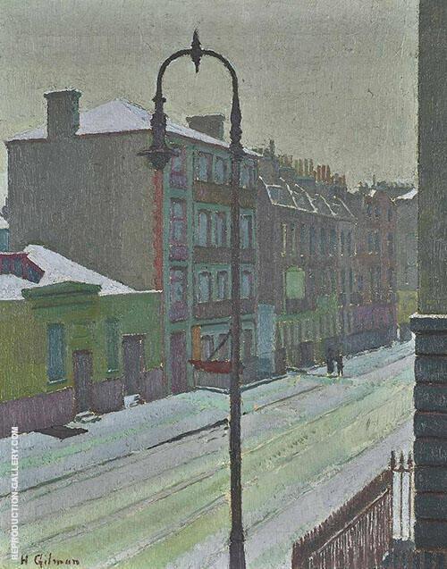 A London Street Scene in Snow 1917 By Harold Gilman