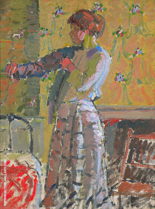 Girl Dressing Painting By Harold Gilman - Reproduction Gallery