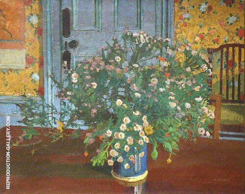 Interior with Flowers By Harold Gilman