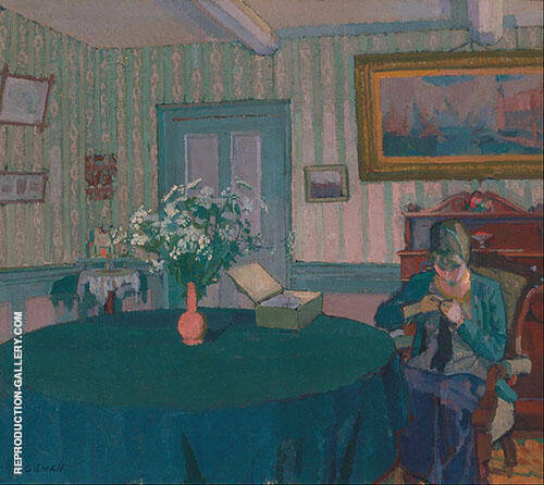 Sylvia Darning 1917 Painting By Harold Gilman - Reproduction Gallery