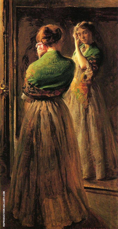 Girl with A Green Shawl 1900 By Joseph de Camp