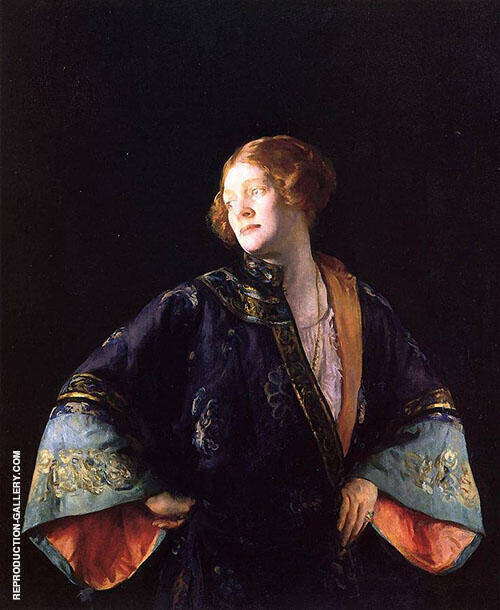 The Blue Mandarin Coat (The Blue Kimono) 1922 Painting By Joseph de Camp