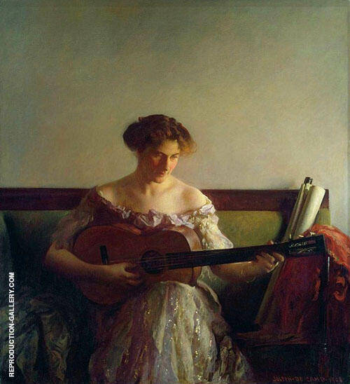 The Guitar Player 1908 Painting By Joseph de Camp - Reproduction Gallery
