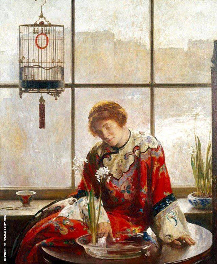 The Red Kimono c1919 Painting By Joseph de Camp - Reproduction Gallery