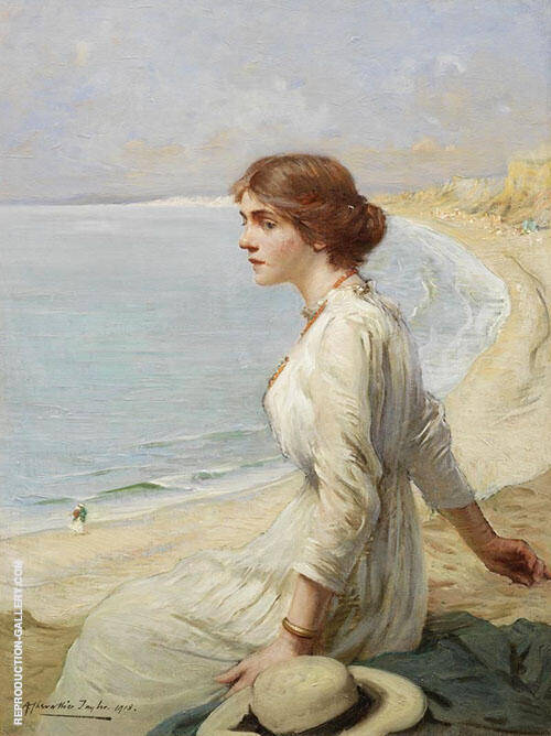 Girl Looking Out to Sea By Albert Chevallier Tayler