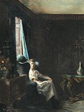Portrait of a Woman in a Drawing Room By Albert Chevallier Tayler
