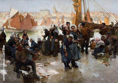 The Departure of The Fishing Fleet Boulogne 1891 By Albert Chevallier Tayler