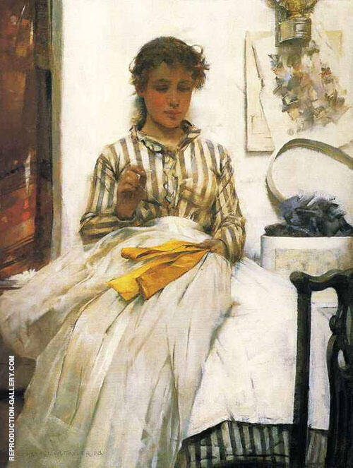 The Yellow Ribbon Painting By Albert Chevallier Tayler