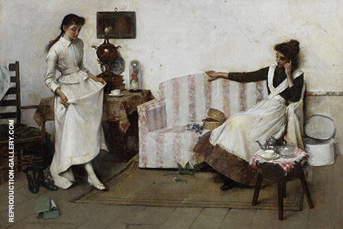 Trying Them On Painting By Albert Chevallier Tayler - Reproduction Gallery