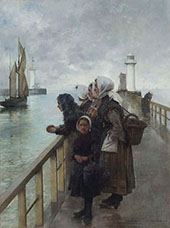 Watching The Sea Boulogne Harbour France By Albert Chevallier Tayler