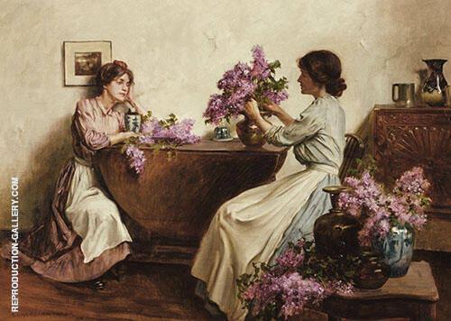 Woman Arranging Flowers 1906 By Albert Chevallier Tayler