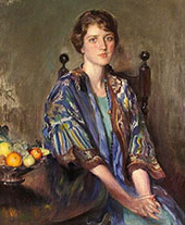 Seated Woman with Bowl of Fruit By Mary Brewster Hazelton