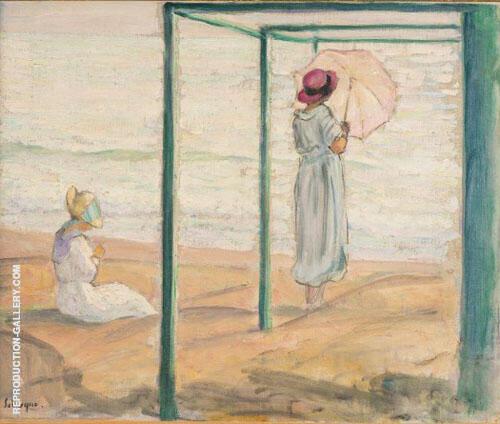 Deux-Jeunes-Filles-Devant-Mer-1918 Painting By Henri Lebasque