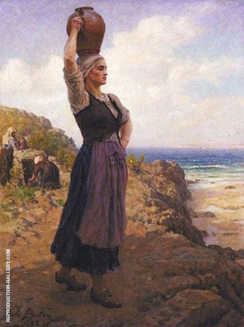A La Fontaine Painting By Jules Breton - Reproduction Gallery