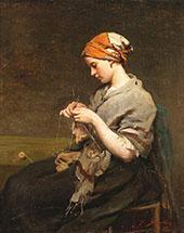 Jeune Fille Tricotant 1860 By Jules Breton