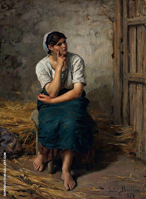 Peasant Girl Resting By Jules Breton