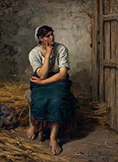 Peasant Girl Resting By Jules Breton