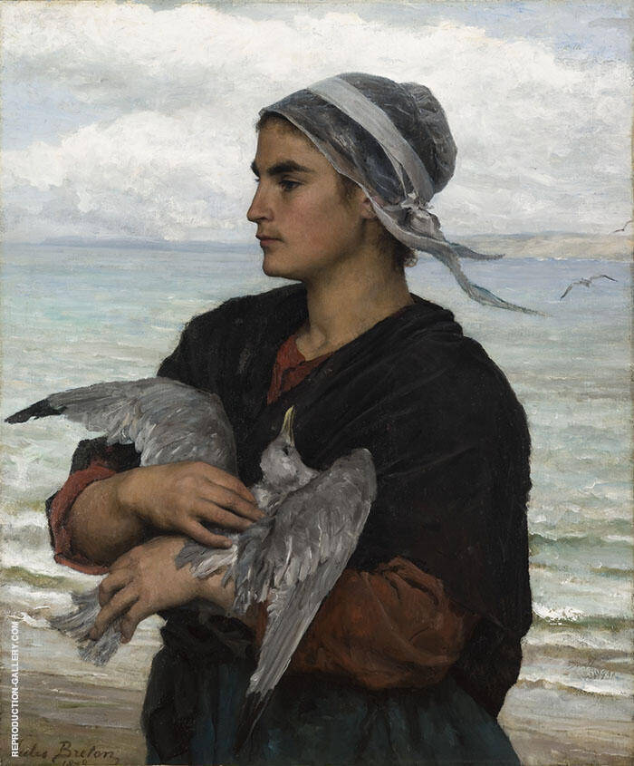 The Wounded Sea Gull Painting By Jules Breton - Reproduction Gallery