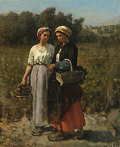 Two Young Woman Picking Grapes 1862 By Jules Breton
