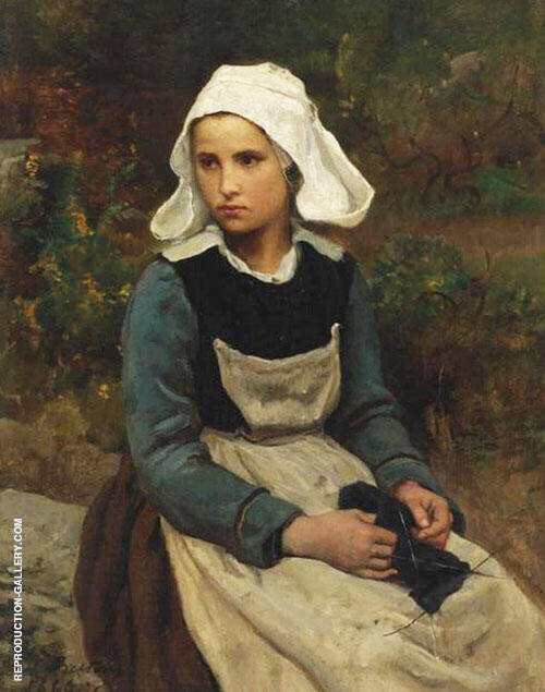 Young Brittany Girl Knitting By Jules Breton