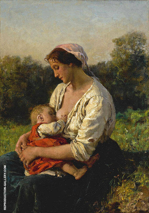 Young Mother Nursing her Child By Jules Breton