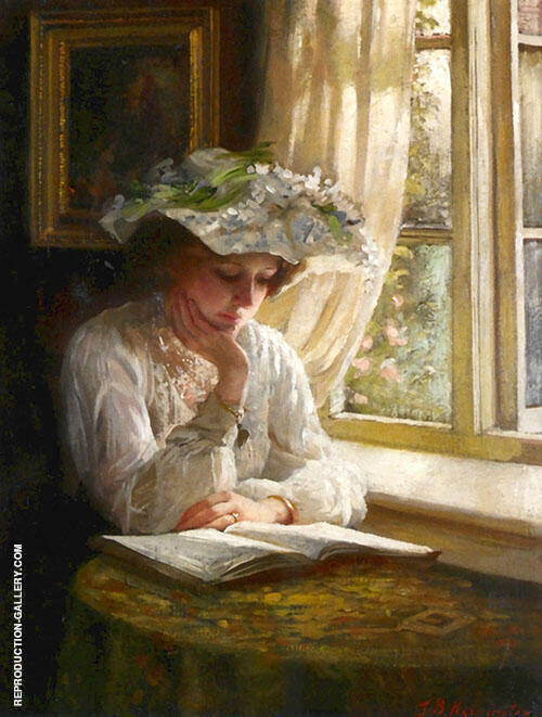Lady Reading by A Window 1900 Painting By Thomas Benjamin Kennington