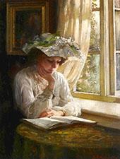 Lady Reading by A Window 1900 By Thomas Benjamin Kennington