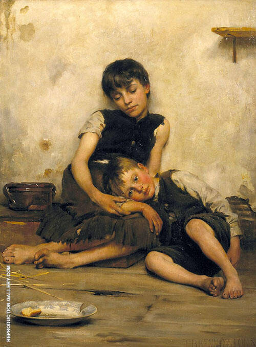 Orphans 1885 Painting By Thomas Benjamin Kennington - Reproduction Gallery