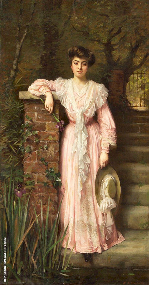 Portrait of a Lady in a Garden Wearing a Pink Dress Holding an Iris By Thomas Benjamin Kennington