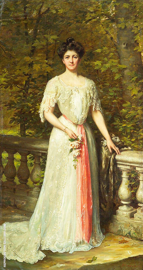 Portrait of a Lady in a White Dress with a Pink Sash by a Balustrade By Thomas Benjamin Kennington
