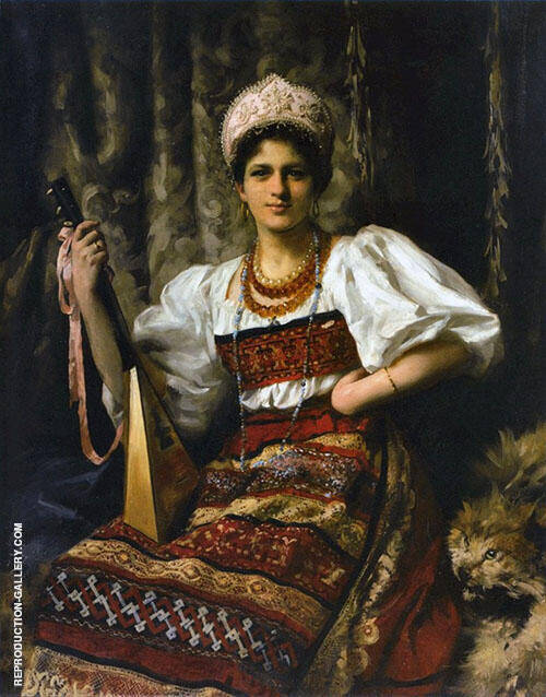 Portrait of The Artists Daughter Anne in Russian Costume Holding a Balilaika 1900 By Thomas Benjamin Kennington