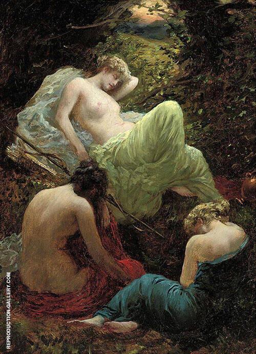 The Siesta of Diana 1898 By Thomas Benjamin Kennington
