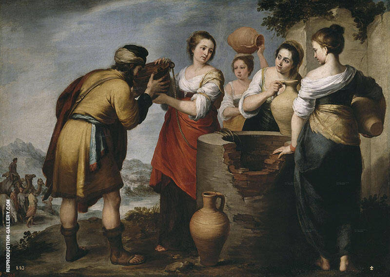 Rebecca and Eliezer 1650 Painting By Bartolome Esteban Murillo