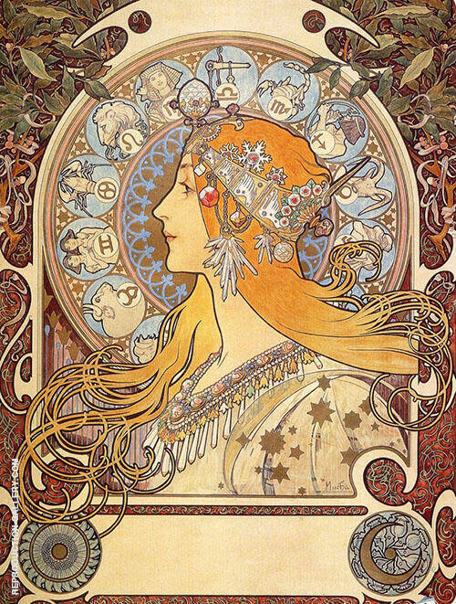 Zodiac 1896 Painting By Alphonse Mucha - Reproduction Gallery