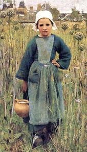 Breton Girl Carrying a Jar 1882 By Sir George Clausen