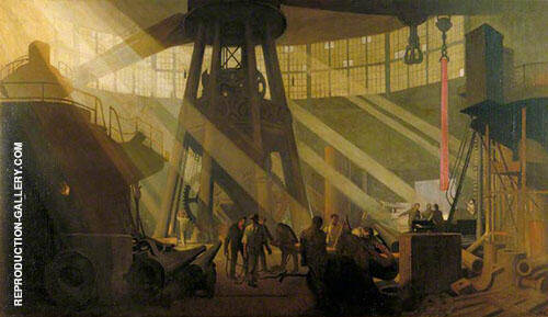 In The Gun Factory at Woolwich Arsenal 1918 By Sir George Clausen