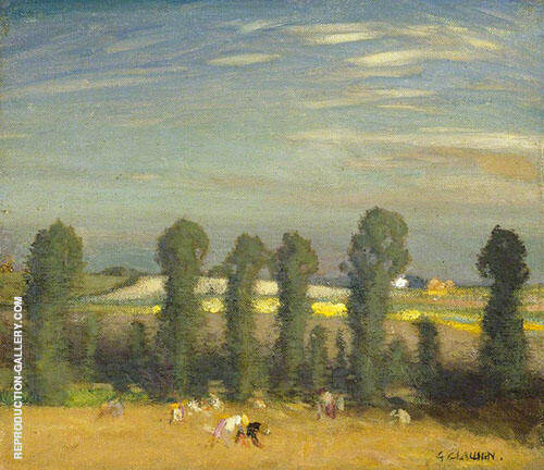 Landscape with Hayfield and Poplars By George Clausen