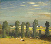 Landscape with Hayfield and Poplars By Sir George Clausen
