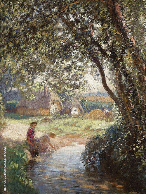 The Little Pool Painting By Sir George Clausen - Reproduction Gallery