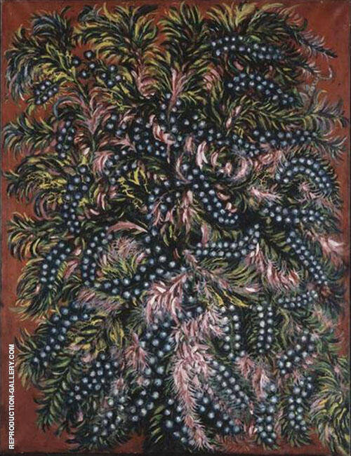 Grappes et Feuilles Roses c1925 Painting By Seraphine Louis
