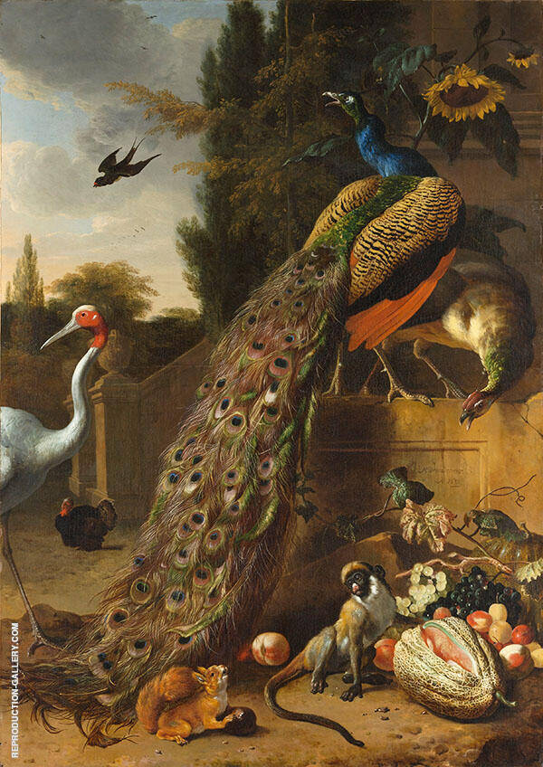 Peacocks 1683 Painting By Melchior De Hondecoeter - Reproduction Gallery