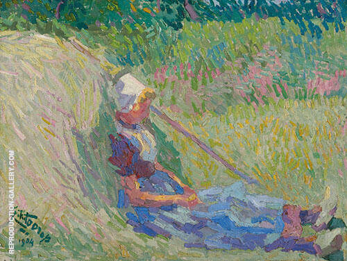 Girl Resting again a Haystack Painting By Jan Toorop