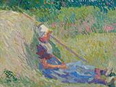 Girl Resting again a Haystack By Jan Toorop