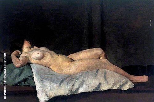 Female Figure Lying on Her Back 1912 Painting By Dora Carrington