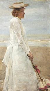 Portrait of Jaqueline Sandberg By Isaac Israels