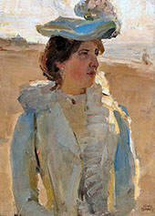 Portrait of a Lady on the Beach at Scheveningen By Isaac Israels