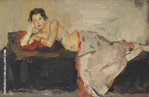 Reclining Nude London Painting By Isaac Israels - Reproduction Gallery