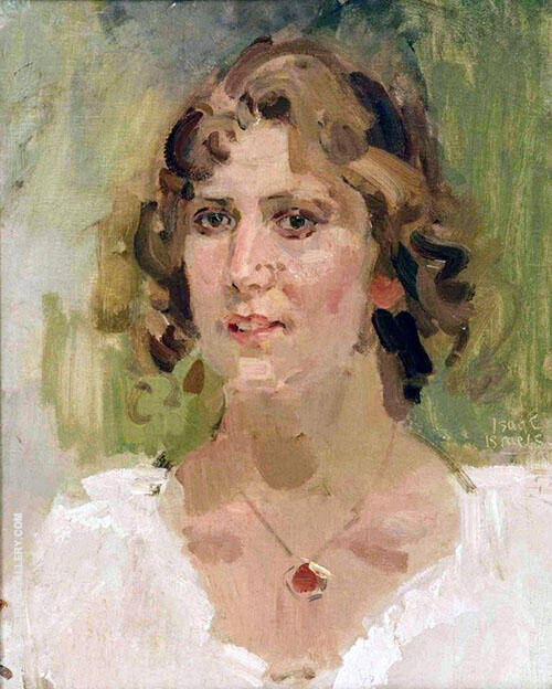 Sophie de Vries with Red Medallion By Isaac Israels
