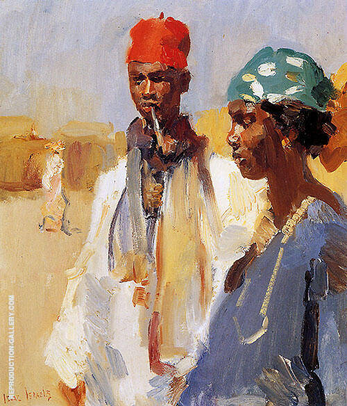 Double Portrait Negro Heads By Isaac Israels