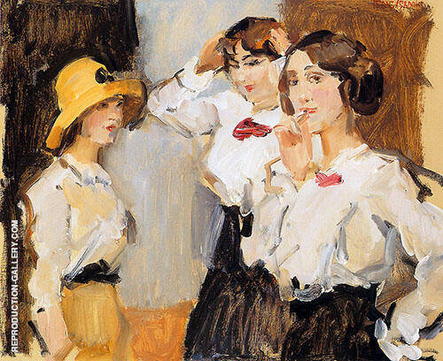 Schoolgirls in White Blouse By Isaac Israels